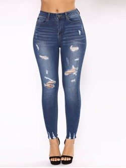 Pencil Pants Hole Plain Skinny Women's Jeans
