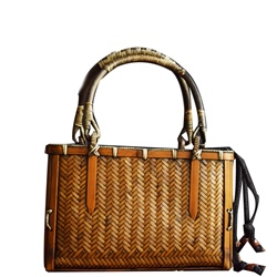 Shoespie Plain Knitted Rectangle Bamboo Tote Bags