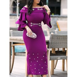Ankle-Length Chain Falbala Casual Women's Bodycon Dress