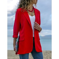 Plain Long Sleeve Notched Lapel Fall Women's Blazer