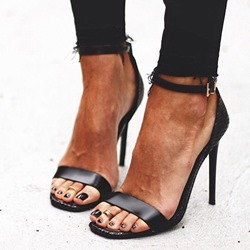 Shoespie Stylish Black Stiletto Heel Heel Covering Peep Toe Sandals