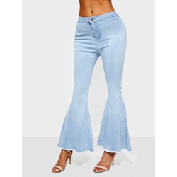 Plain Patchwork Bellbottoms Slim Women's Jeans