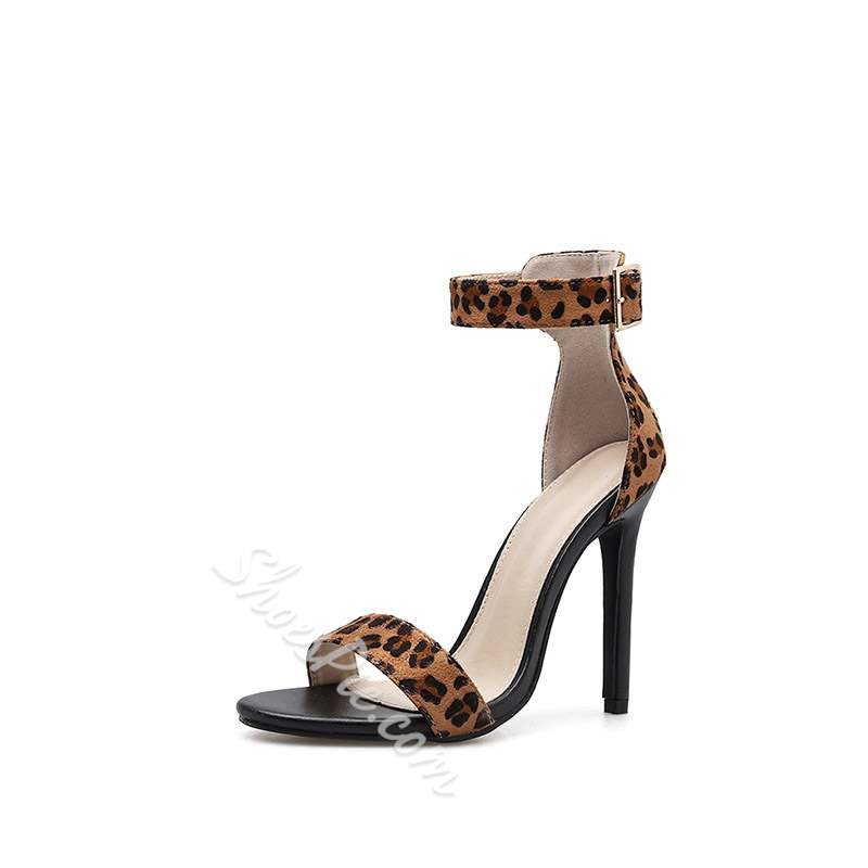 Shoespie Sexy Slingback Strap Open Toe Buckle Leopard Sandals