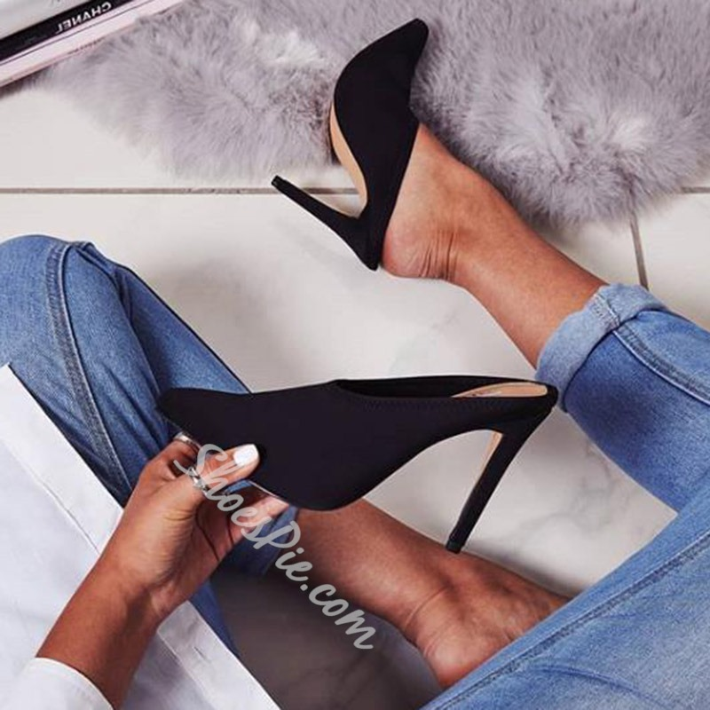Shoespie Sexy Black Closed Toe Stiletto Heel Mules