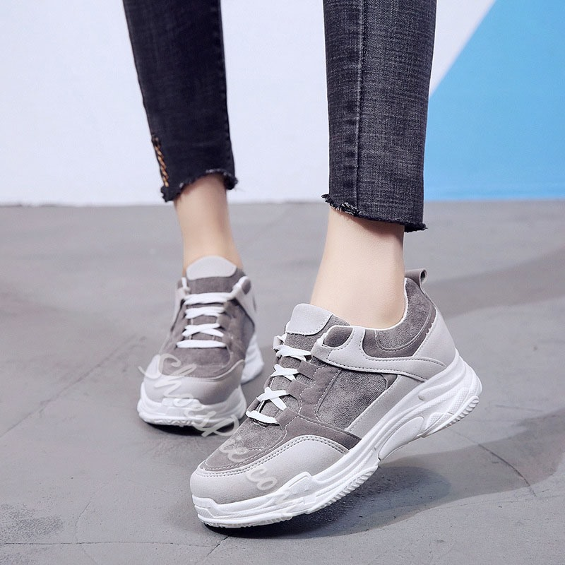Shoespie Sexy Platform Round Toe Lace-Up PU Sneakers