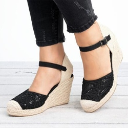 Shoespie Sexy Wedge Heel Buckle Closed Toe High Heel Sandals