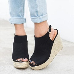 Shoespie Sexy Wedge Heel Buckle Peep Toe Plain Sandals