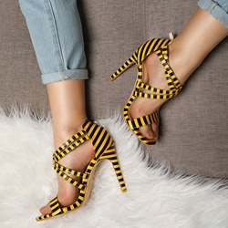 Shoespie Stylish Heel Covering Stiletto Heel Open Toe Stripe Sandals
