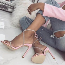 Shoespie Trendy Pink Open Toe Lace-Up Stiletto Heel Sandals