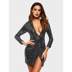 Polyester V-Neck Sequins Pullover Women's Bodycon Dress