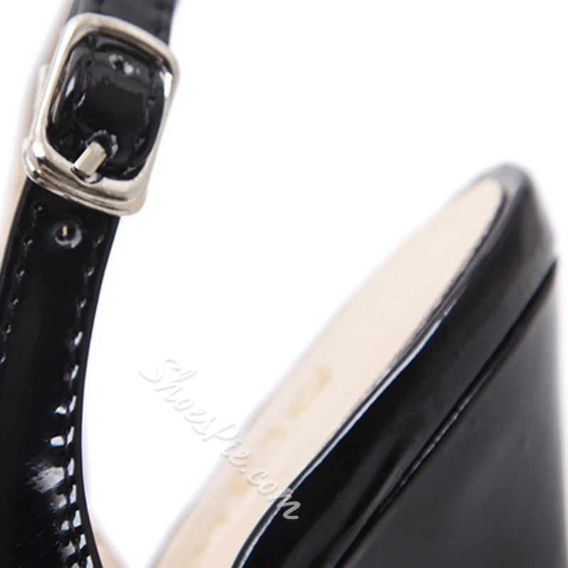 Shoespie Black Stylish Stiletto Heel Peep Toe Buckle Platform Heels