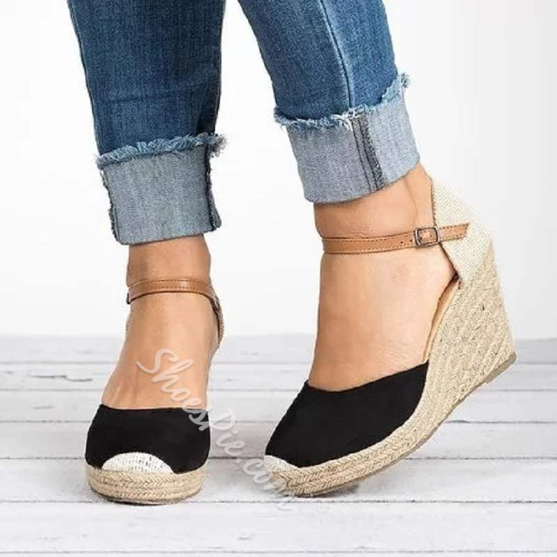 Shoespie Sexy Wedge Heel Buckle Closed Toe Plain Sandals