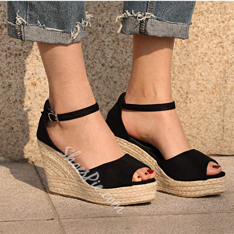 Shoespie Vintage Buckle Peep Toe Wedge Heel Sandals