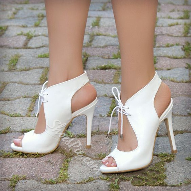 Shoespie Trendy White Strappy Peep Toe Lace-Up Dress Sandals