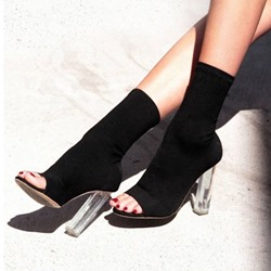Shoespie Trendy Peep Toe Slip-On Chunky Heel Ankle Boots