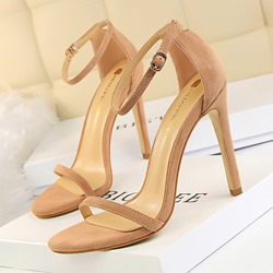 Shoespie Stylish Heel Covering Line-Style Buckle Stiletto Heel Sandals