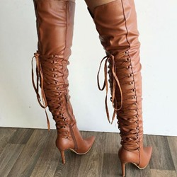 Shoespie Stylish Plain Pointed Toe Stiletto Heel Thigh High Boots