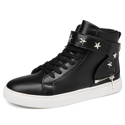Shoespie High-Cut Upper Lace-Up Zipper Men's Sneakers