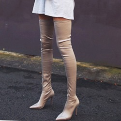 Shoespie Sexy Plain Slip-On Pointed Toe Cotton Thigh High Boots