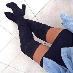 Shoespie Sexy Lace-Up Back Chunky Heel Plain Thigh High Boots
