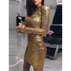 Long Sleeve Above Knee Sequins Sexy Women's Bodycon Dress