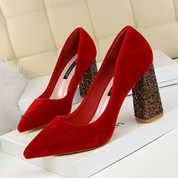 Shoespie Trendy Suede Slip-On Pointed Toe Sequin Heels