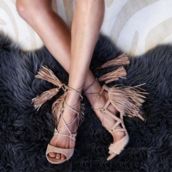 Shoespie Stylish Lace-Up Peep Toe Heel Covering Dress Sandals