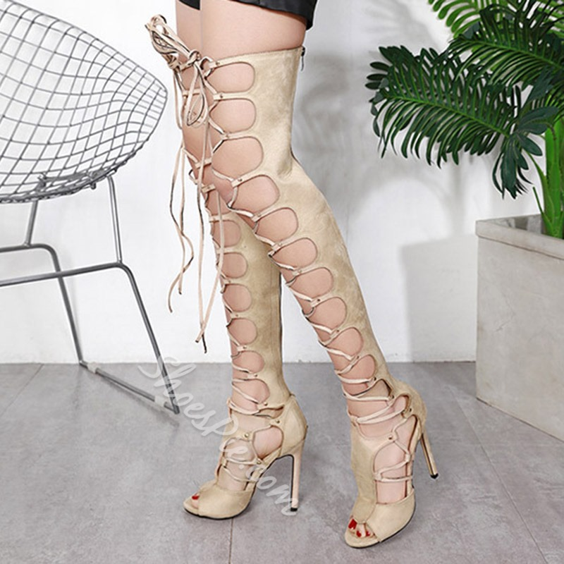 Shoespie Trendy Back Zip Peep Toe Stiletto Heel Gladiator Sandals