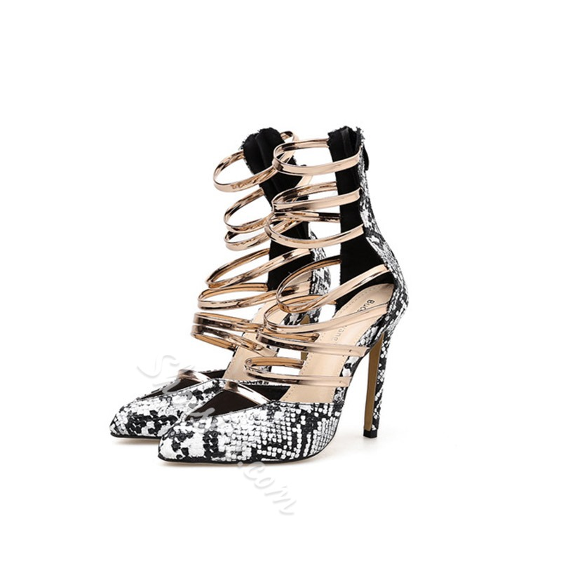 Shoespie Stylish Stiletto Heel Pointed Toe Heel Covering Hollow Dress Sandals