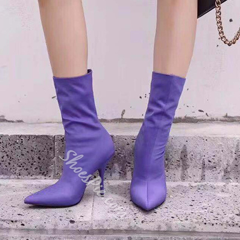 Shoespie Stylish Pointed Toe Stiletto Heel Slip-On Ankle Boots
