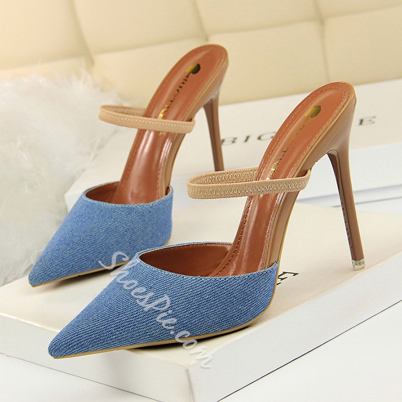 Shoespie Stylish Closed Toe Slip-On Stiletto Heel Mule Shoes