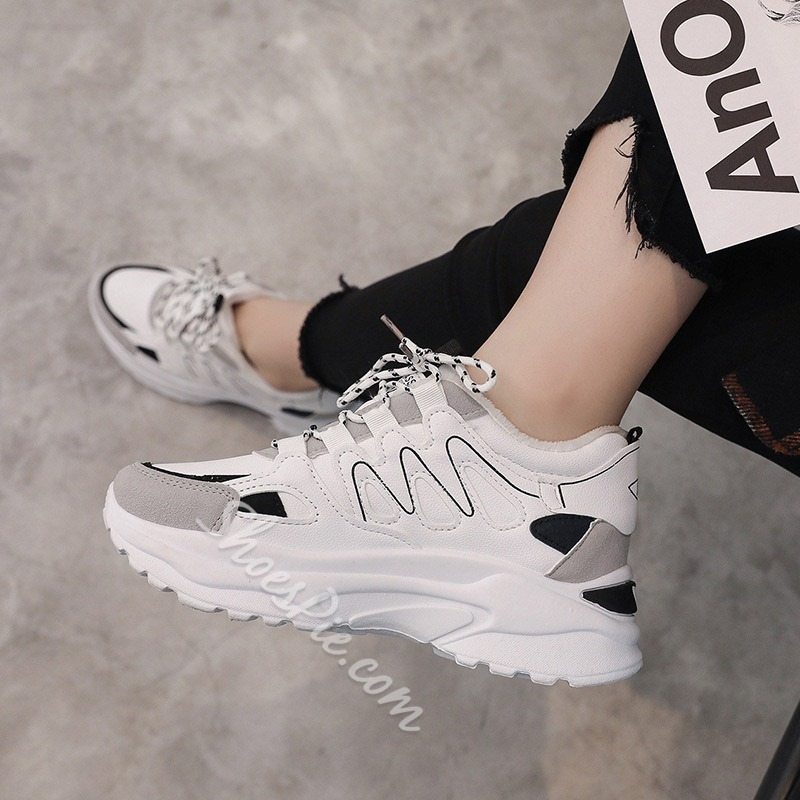 Shoespie Platform Round Toe Casual Sneakers