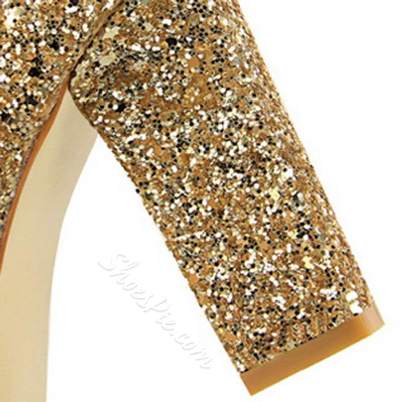 Shoespie Stylish Slip-On Pointed Toe Banquet Sequin Heels