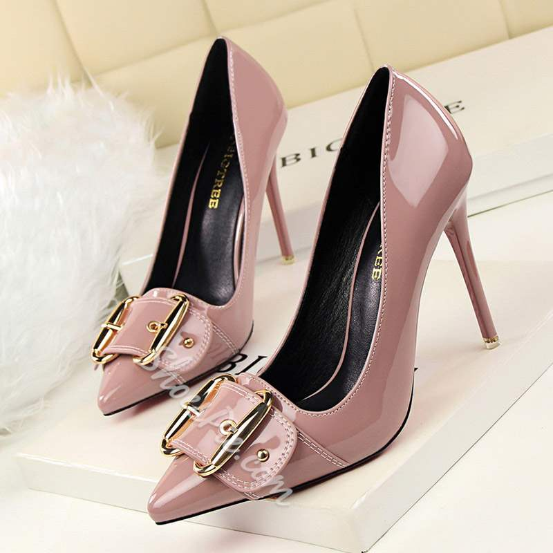 Shoespie Sexy Buckle Pointed Toe Slip On Stiletto Heels