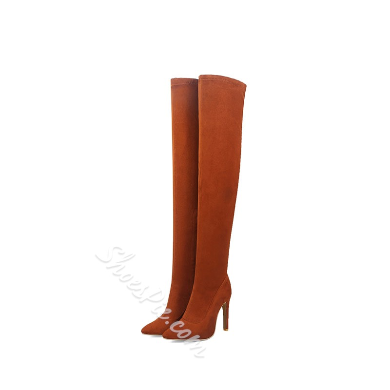 Shoespie Trendy Pointed Toe Plain Stiletto Heel Thigh High Boots