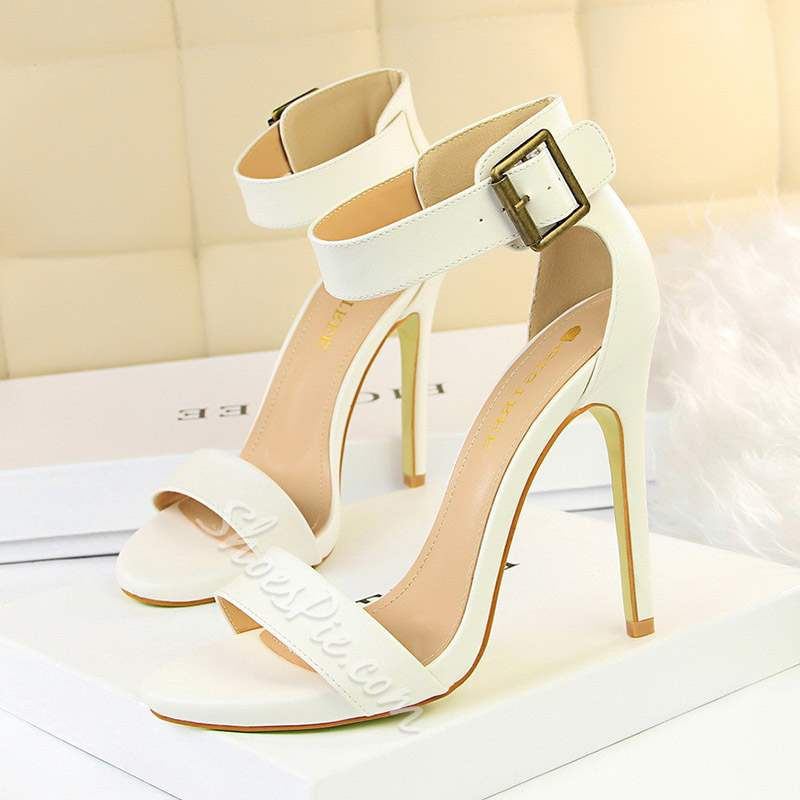 Shoespie Sexy Heel Covering Line-Style Buckle Stiletto Heel Sandals