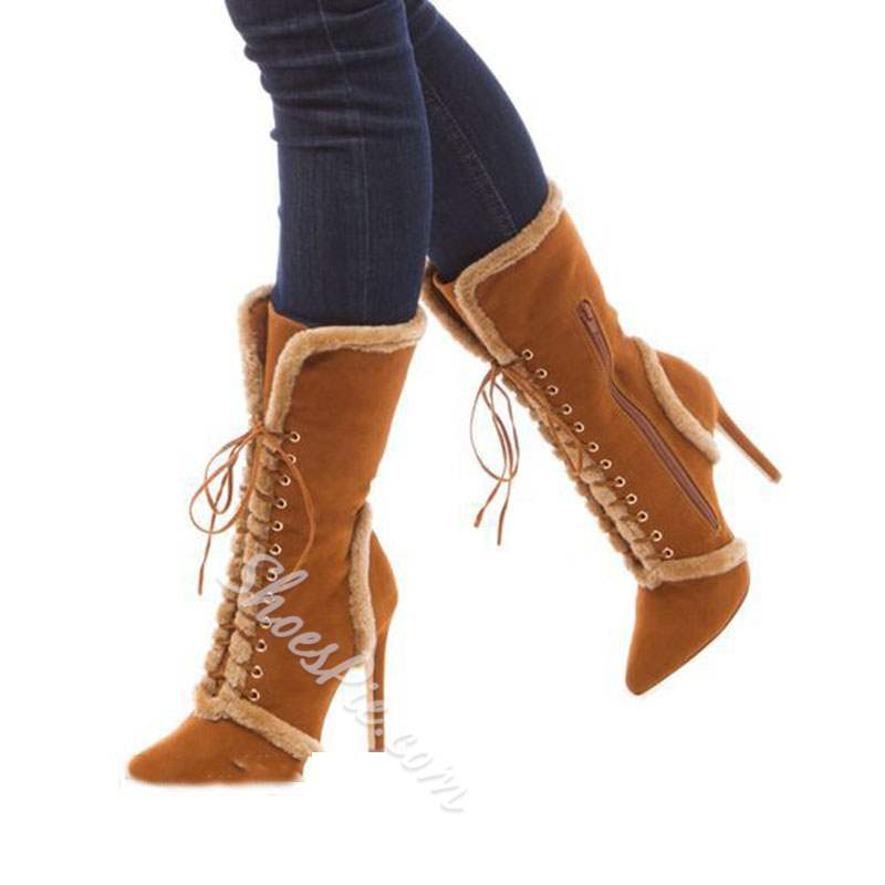 Shoespie Trendy Stiletto Heel Plain Side Zipper Purfle Ankle Boots
