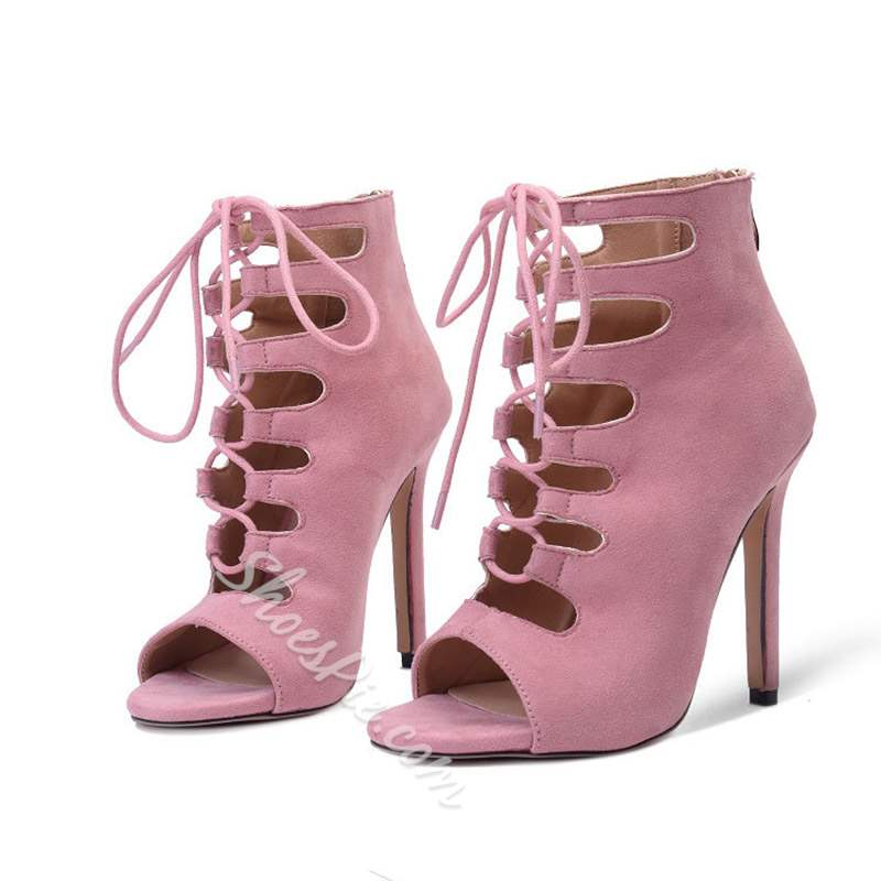 Shoespie Peep Toe Strappy Zipper High Heels