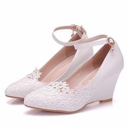 Shoespie Stylish Pointed Toe Wedge Heel Lace Wedding Bridal Shoes