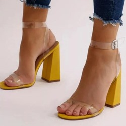 Shoespie Trendy Ankle Strap Chunky Heel Open Toe See-Through Sandals