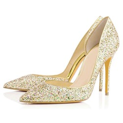 Shoespie Pointed Toe Stiletto Heel Sequin Banquet Wedding Bridal Shoes