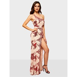 Floor-Length Polyester Embroidery Pullover Women's Maxi Dress