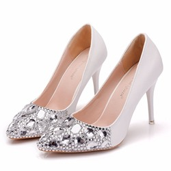 Shoespie Rhinestone Slip-On Stiletto Heel Banquet Wedding Bridal Shoes
