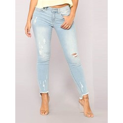 Plain Pencil Pants Hole Skinny Women's Jeans