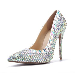 Shoespie Slip-On Rhinestone Pointed Toe Stiletto Heel Wedding Bridal Shoes
