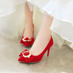 Shoespie Sexy Slip-On Beads Pointed Toe Wedding Bridal Shoes