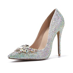 Shoespie Sexy Rhinestone Slip-On Stiletto Heel Wedding Bridal Shoes