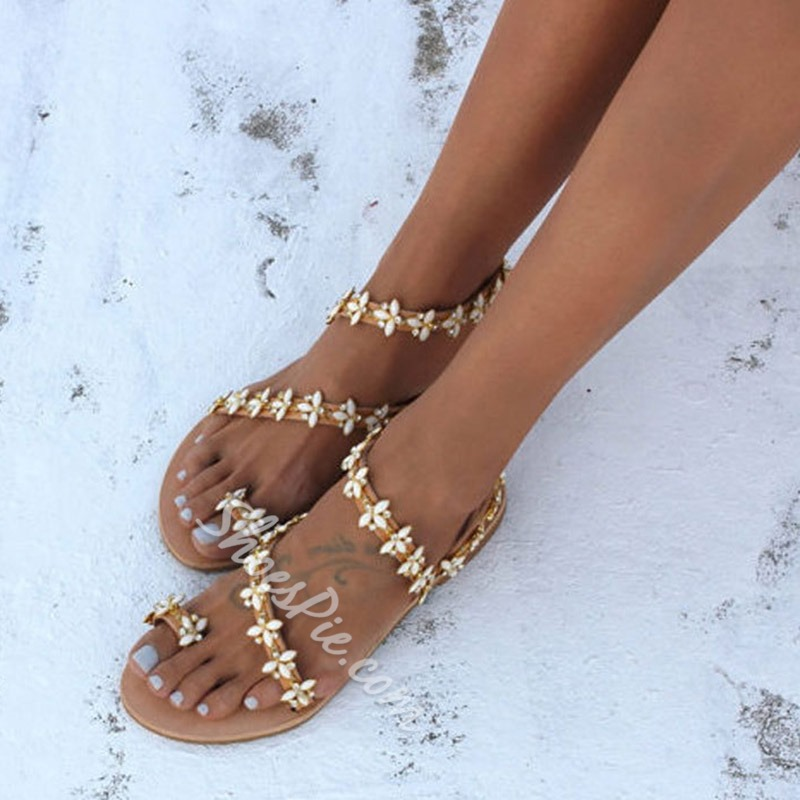 Shoespie Stylish Toe Ring Block Heel Strappy Flat Sandals
