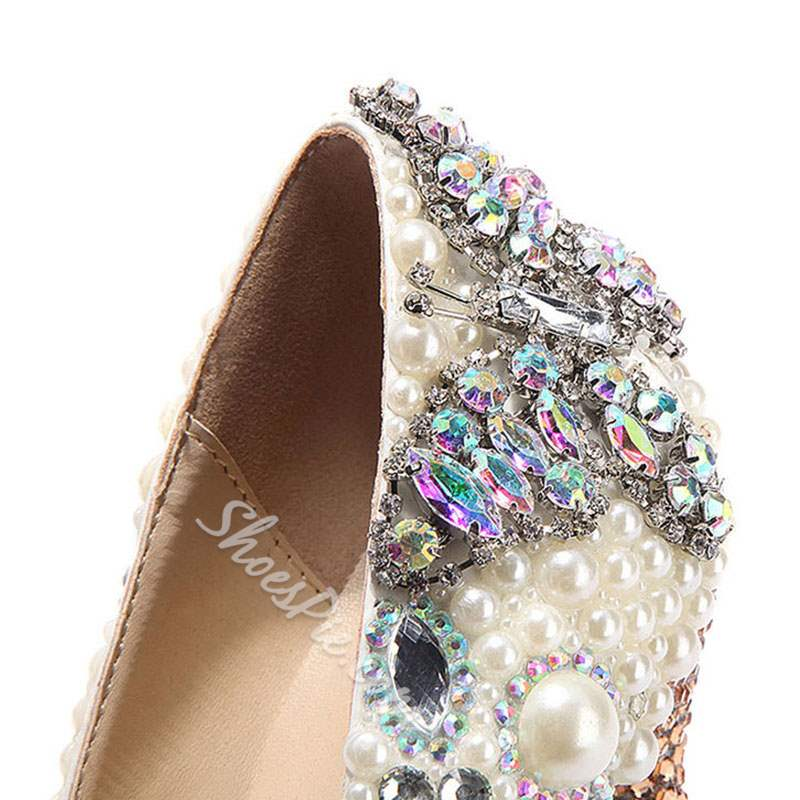 Shoespie Sexy Rhinestone Pointed Toe Slip-On Banquet Wedding Bridal Shoes