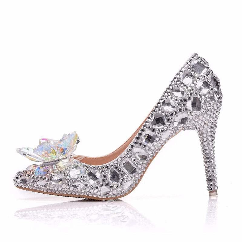 Shoespie Stiletto Heel Pointed Toe Rhinestone Banquet Wedding Bridal Shoes